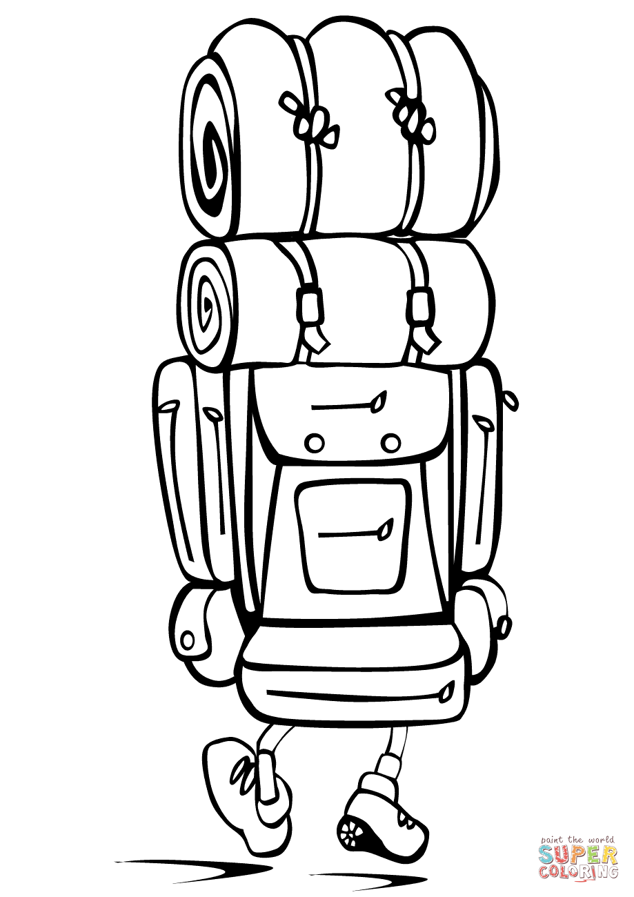 Download best . Free camping backpack clipart black and white