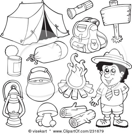 Free camping backpack clipart black and white. Royalty rf illustration of