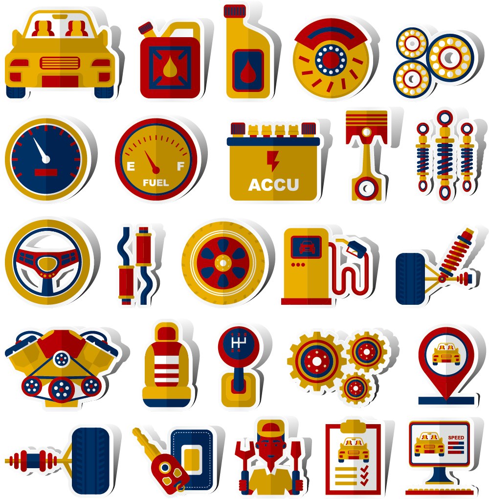Free car parts clipart stock Sports car Vehicle - Vector collection of auto parts 1000*1020 ... stock