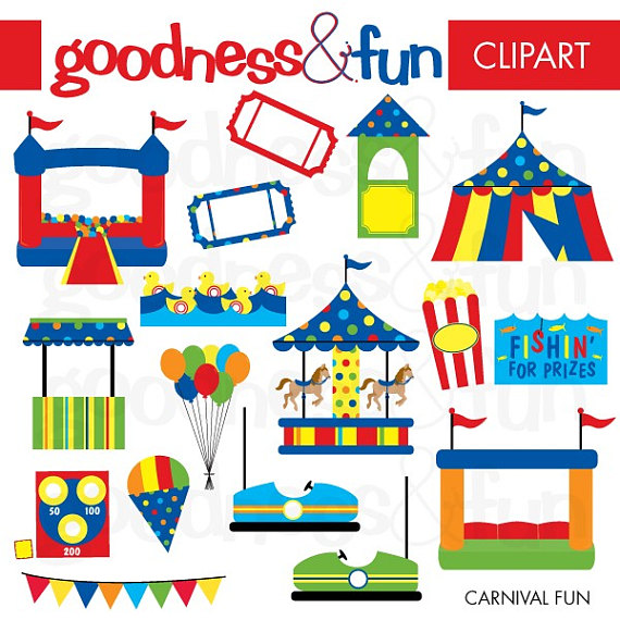 Free carnival clipart images stock Buy 2, Get 1 FREE - Carnival Fun Clipart - Digital Carnival Fair ... stock