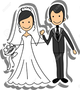 Free cartoon bride and groom clipart banner freeuse stock Bride And Groom Clipart | Free Images at Clker.com - vector clip art ... banner freeuse stock