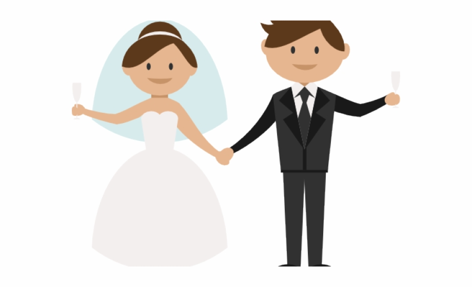 Free cartoon bride and groom clipart picture black and white library Bride And Groom Clipart Png, Transparent Png Download For Free ... picture black and white library