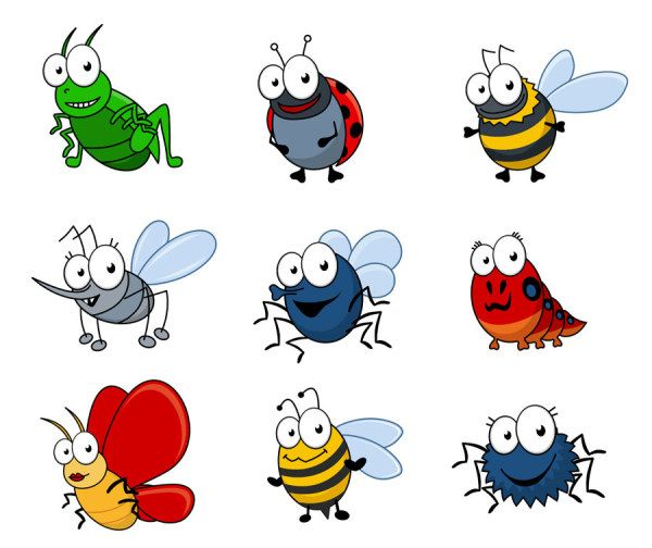 Free cartoon bug clipart picture free Funny Cartoon Insects vector set 04. | kathy | Cartoon drawings ... picture free