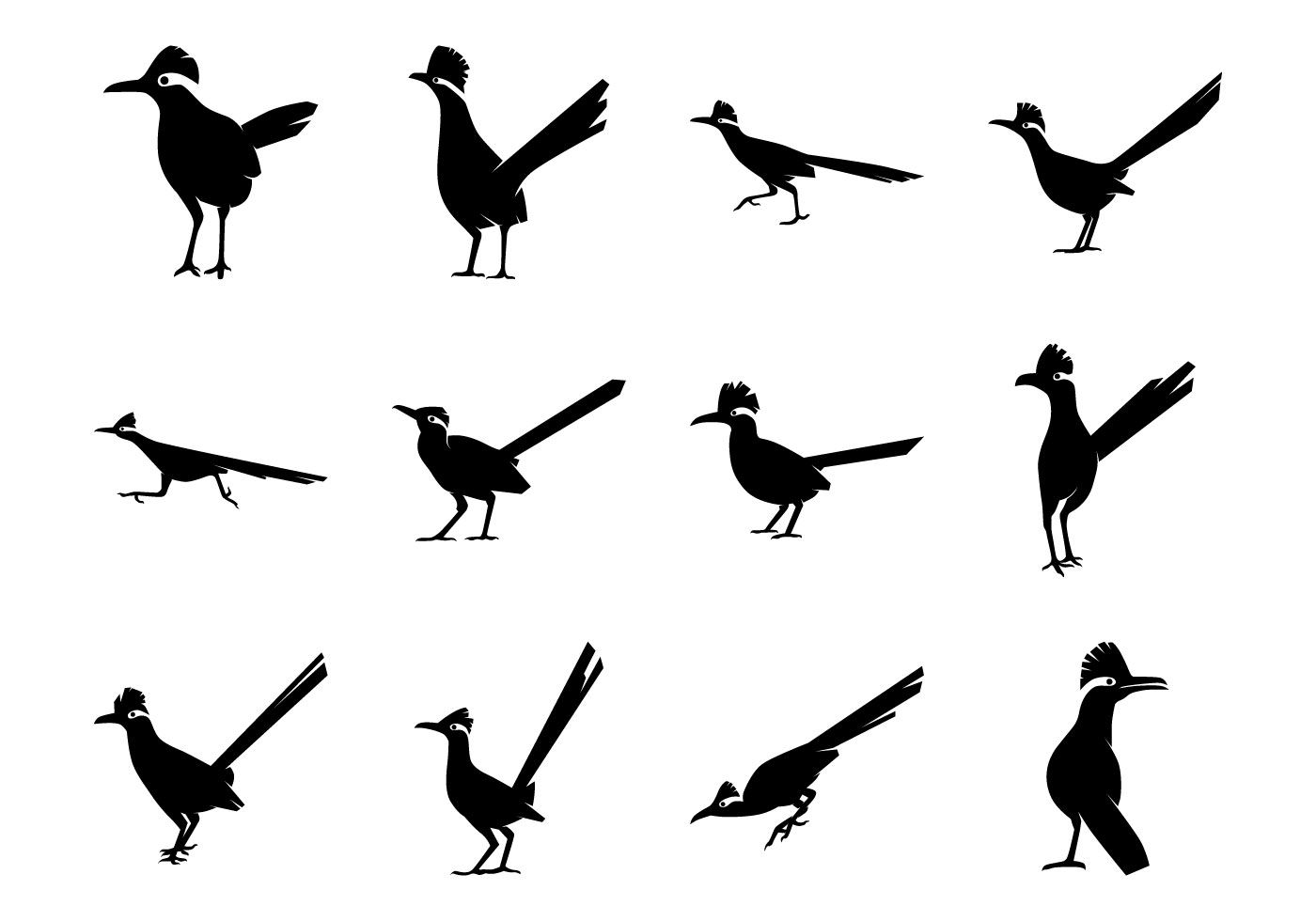 Free cartoon clipart of coyotes cactus rattlesnakes state flag png black and white library Free Roadrunner Bird Silhoutte Vector Pack   B&W.   Desert animals ... png black and white library