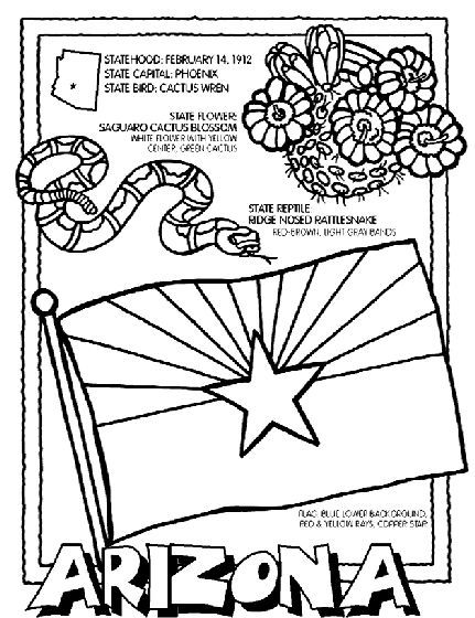 Free cartoon clipart of coyotes cactus rattlesnakes state flag clip black and white library Arizona State Symbol Coloring Page by Crayola. Print or color online ... clip black and white library