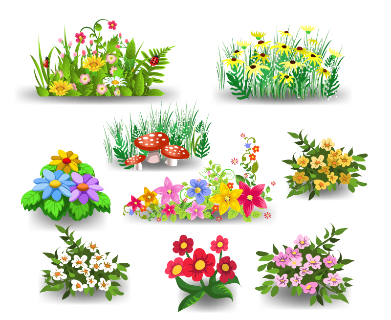 Free cartoon pictures of flowers clipart free Nine Cartoon Flowers Design Vector | Free Vector Graphic Download clipart free