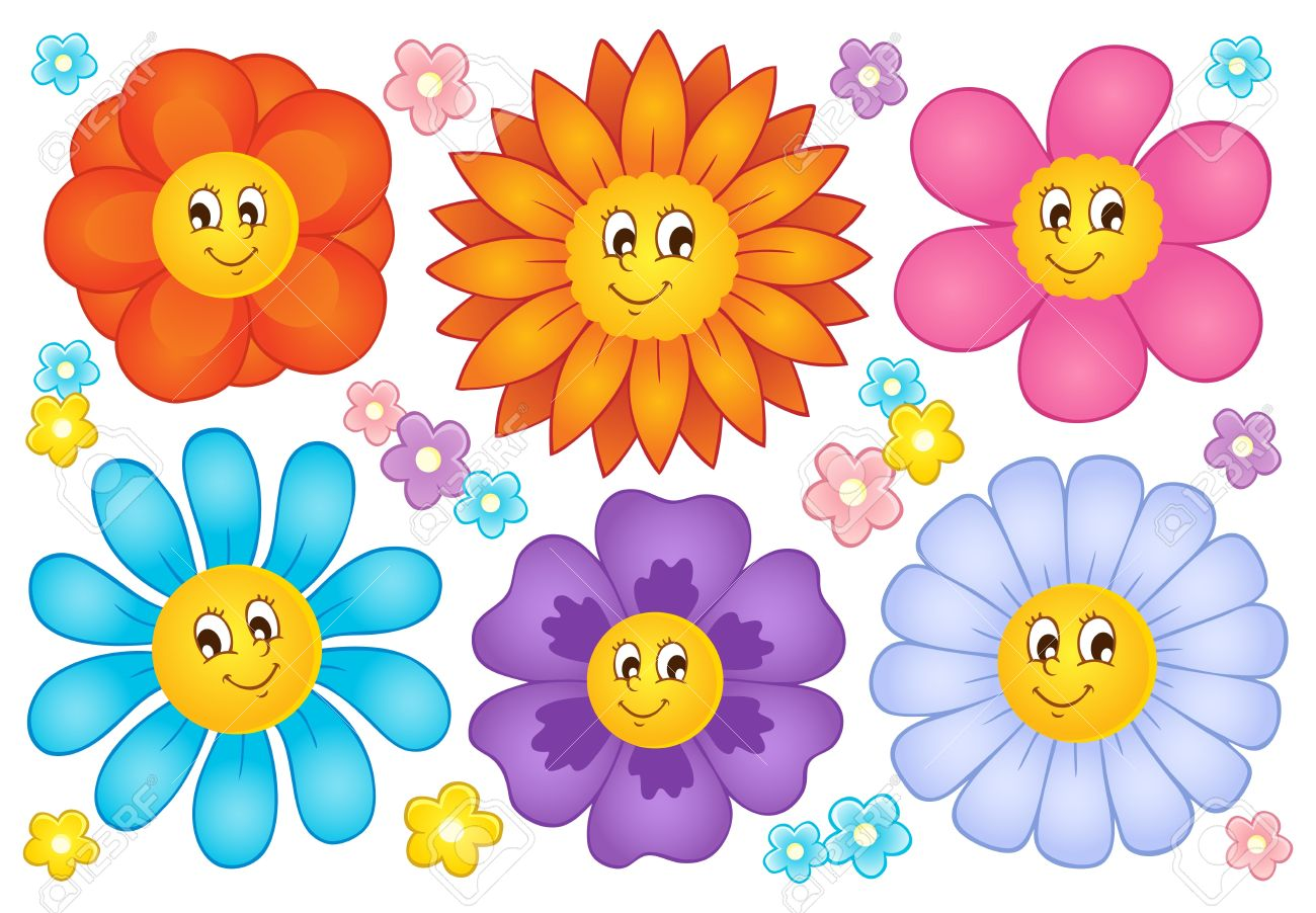 Free cartoon pictures of flowers banner black and white stock Cartoon Flowers Collection 2 - Vector Illustration Royalty Free ... banner black and white stock