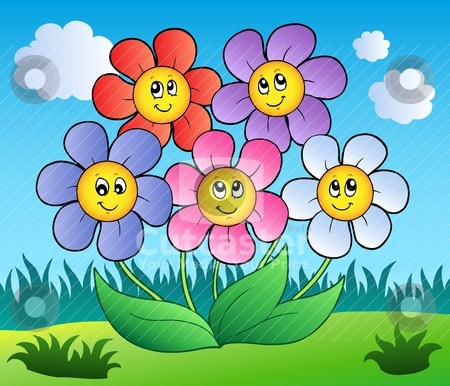 Free cartoon pictures of flowers svg royalty free Cutcaster Vector Five Cartoon Flowers On Meadow | Free Images at ... svg royalty free