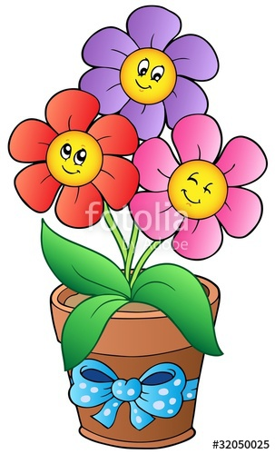 Free cartoon pictures of flowers graphic royalty free download Pot with three cartoon flowers