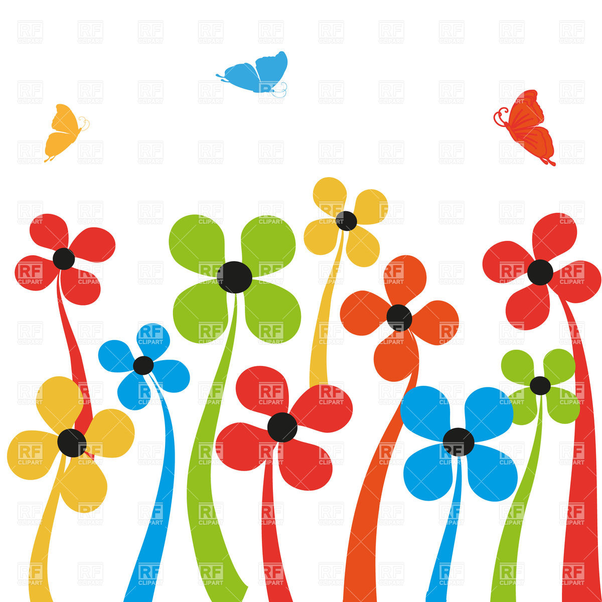 Free cartoon pictures of flowers svg freeuse download Colorful simplistic cartoon flowers and butterflies Vector Image ... svg freeuse download