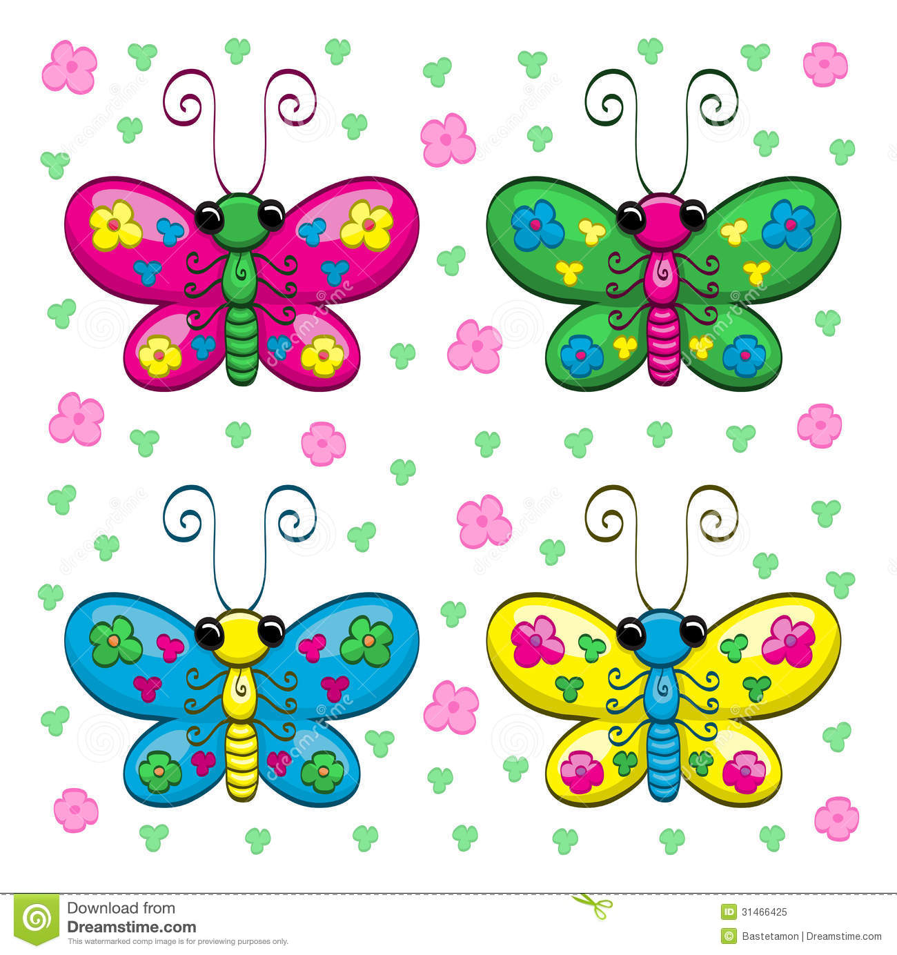Free cartoon pictures of flowers vector library download Cute Cartoon Butterflies And Flowers Royalty Free Stock Photo ... vector library download