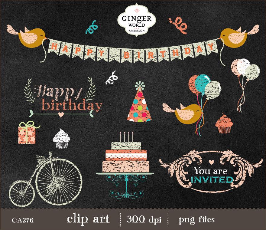 Free chalkboard clipart birthday banner black and white library Free chalkboard clipart birthday - ClipartFest banner black and white library