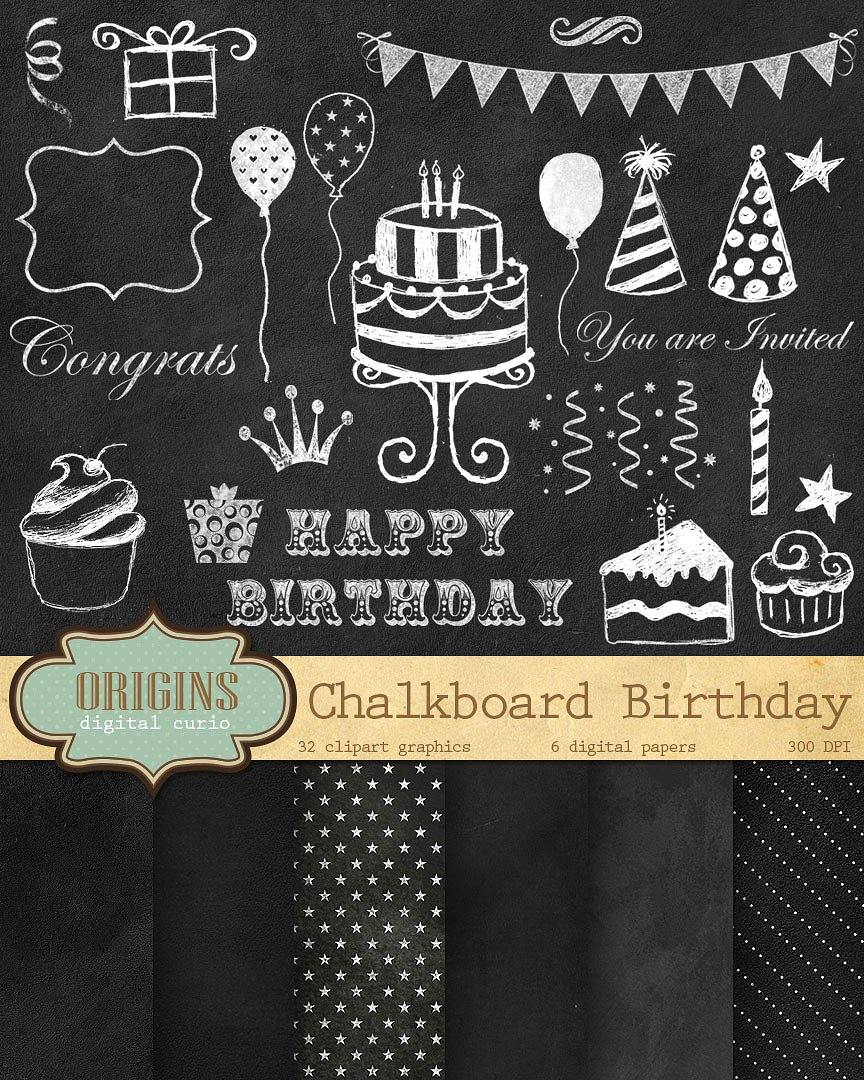 Free chalkboard clipart birthday graphic transparent Chalkboard birthday clip art Photos, Graphics, Fonts, Themes ... graphic transparent