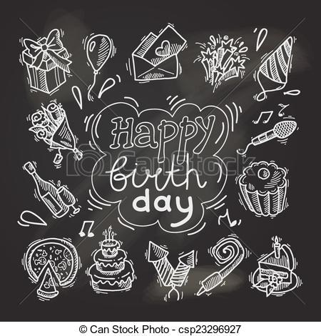 Free chalkboard clipart birthday clipart freeuse stock Vector Illustration of Birthday sketch chalkboard - Happy birthday ... clipart freeuse stock