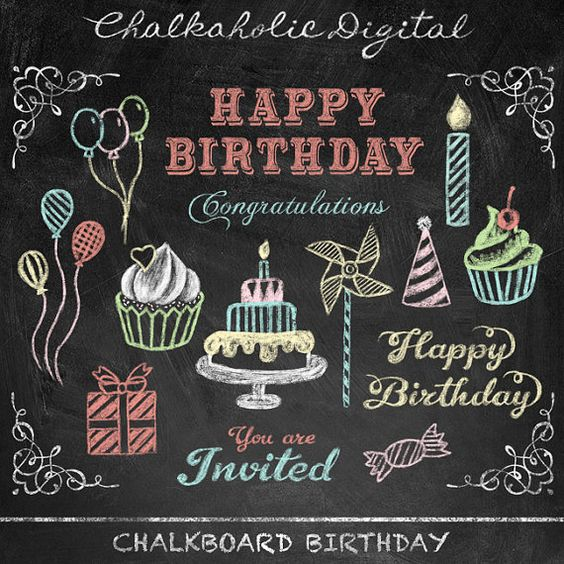 Free chalkboard clipart birthday jpg royalty free library This listing is for a set of BIRTHDAY CHALKBOARD CLIP ART FILE ... jpg royalty free library