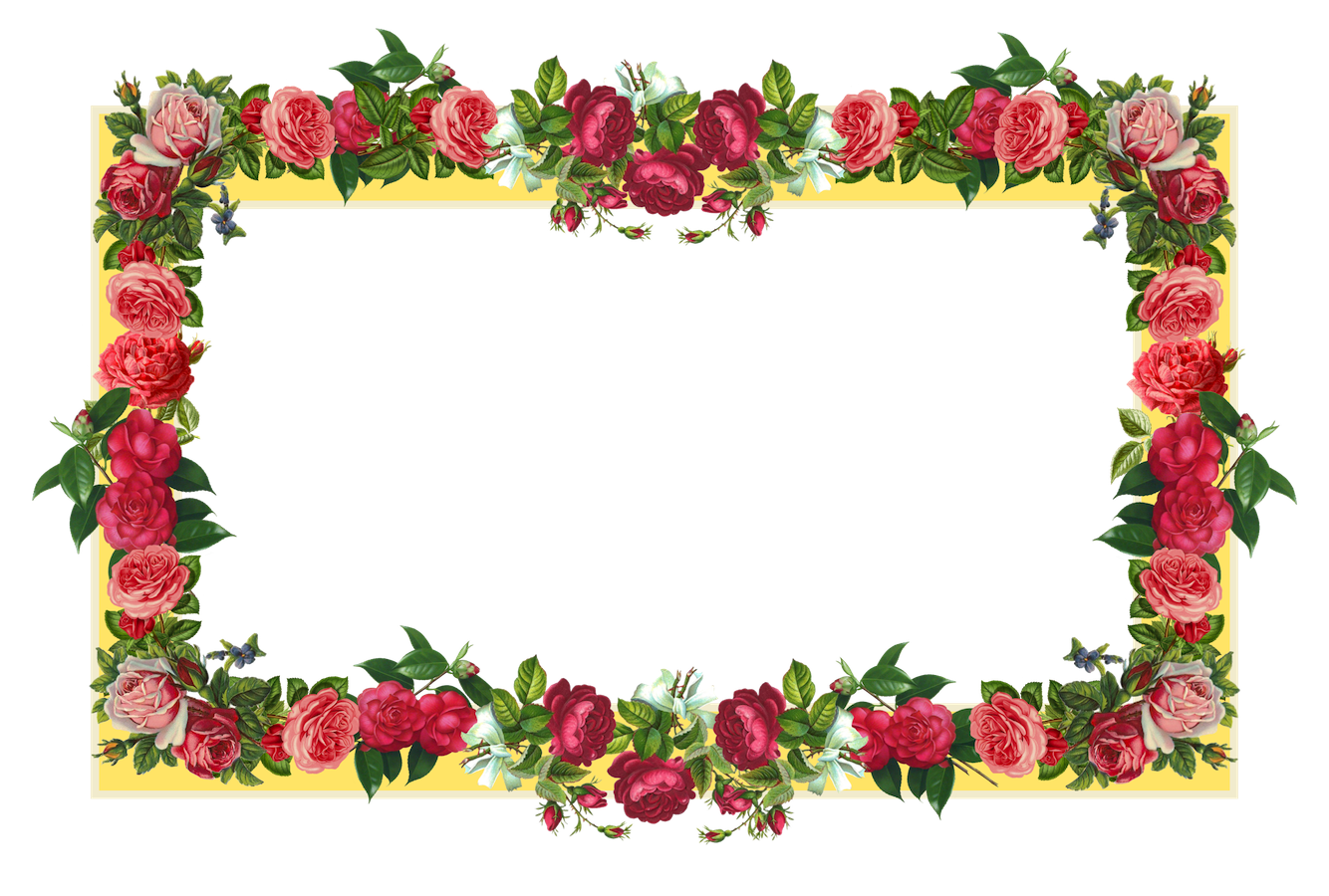 Free chalkboard clipart with color flower png royalty free library free yellow and red vintage rose frame AND vintage flower tag ... png royalty free library