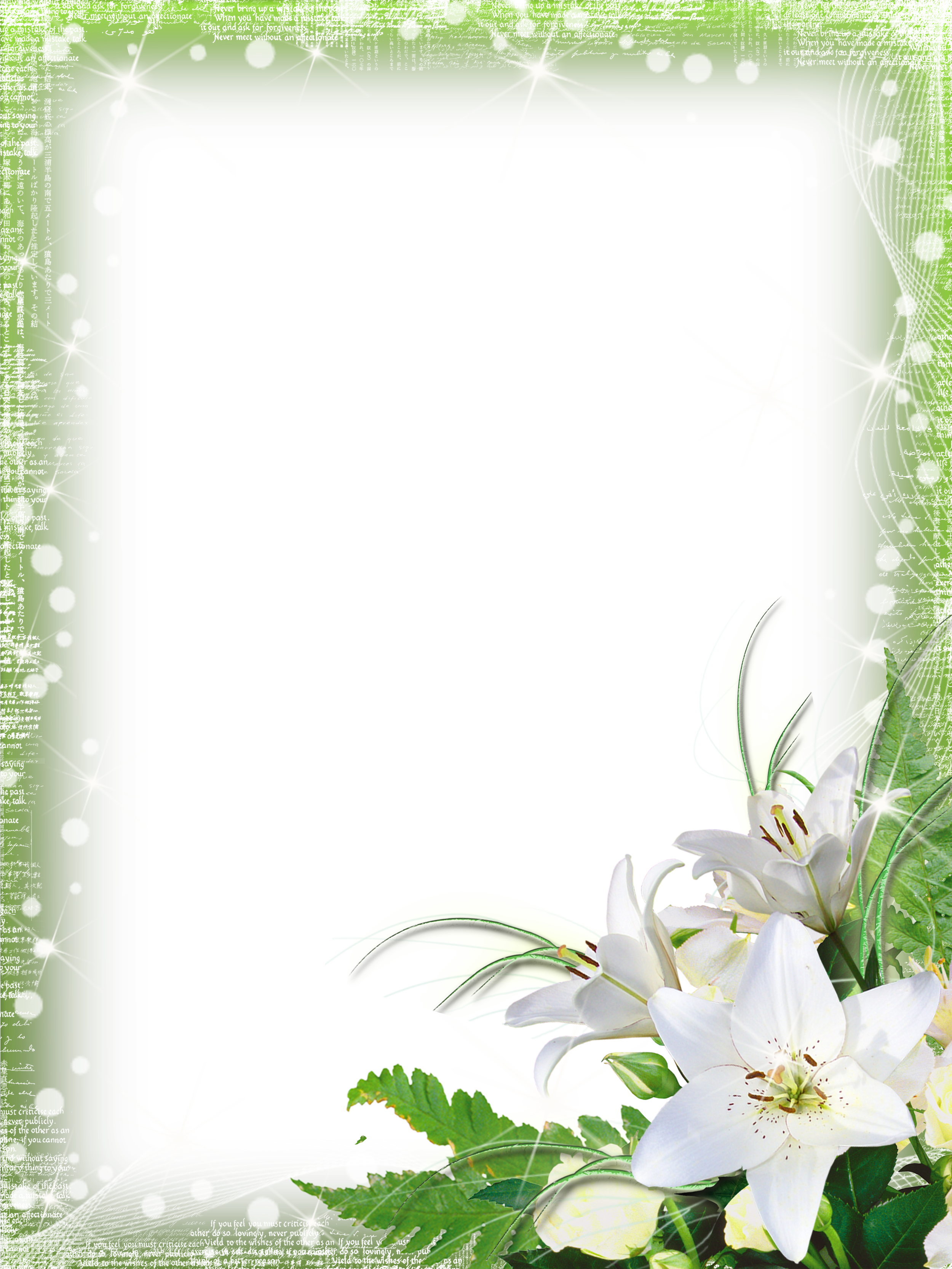 Vertical flower border clipart vector transparent Green-PNG Photo Frame with Flowers | Photos & frames | Pinterest ... vector transparent