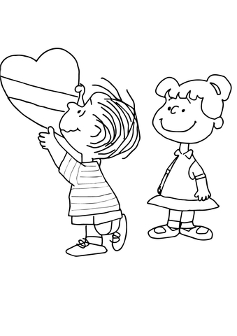 Free charlie brown valentine clipart coloring pages vector transparent Charlie Brown Valentine coloring page | Free Printable Coloring Pages vector transparent