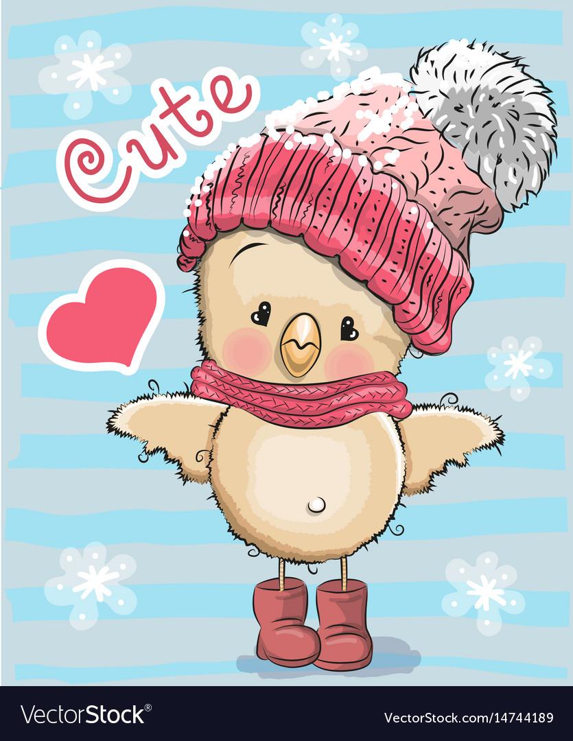 Cute . Free chicken wearing a winter scarf cartoon clipart
