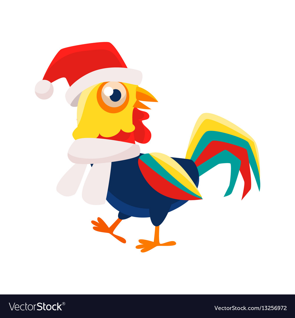 Rooster character hat and. Free chicken wearing a winter scarf cartoon clipart