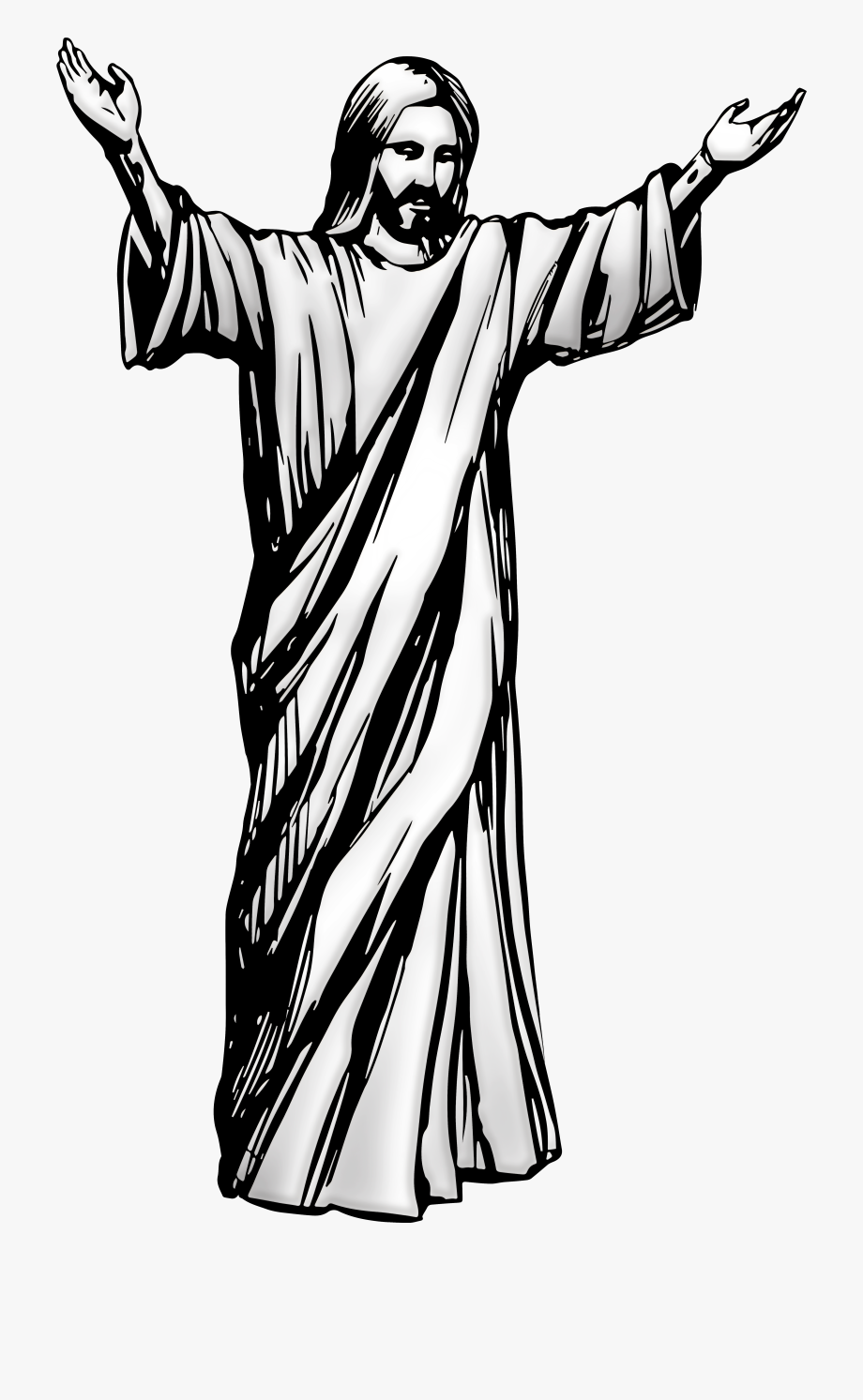 Free christian clipart black and white drawing jesus png transparent Jesus Christ Png Clip Art - Jesus Black And White #61478 - Free ... png transparent