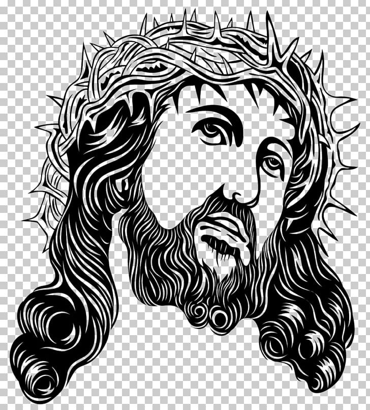 Free christian clipart black and white drawing jesus clip freeuse download Crown Of Thorns Holy Face Of Jesus PNG, Clipart, Art, Black And ... clip freeuse download