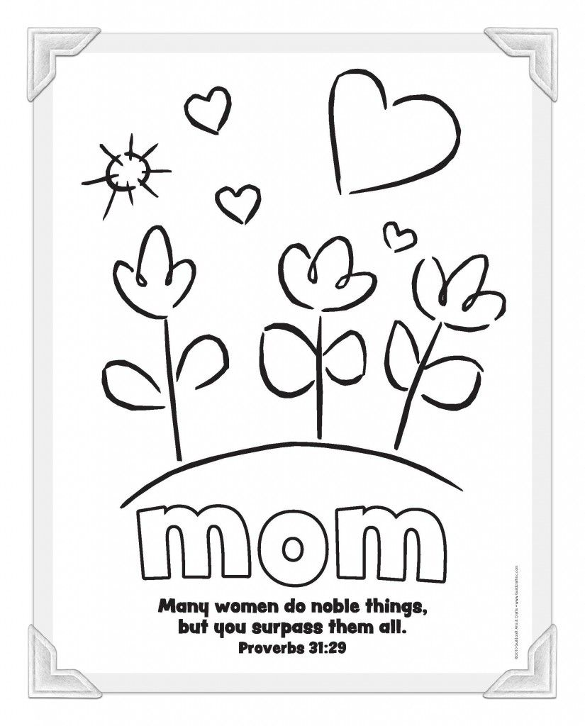 Free christian clipart black and white for mothers day. Mom coloring page sunday
