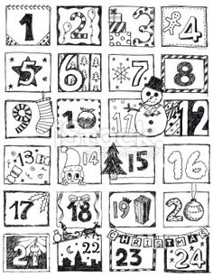 Free christmas advent calendar clipart svg black and white download Christmas advent calendar clipart black and white - ClipartFest svg black and white download