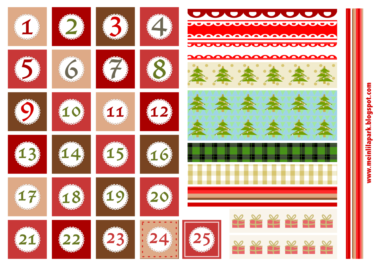 Free christmas advent calendar clipart vector royalty free Free printable Christmas advent calendar numbers and borders ... vector royalty free