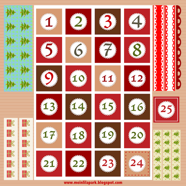 Free christmas advent calendar clipart free Free printable Christmas advent calendar numbers and borders ... free