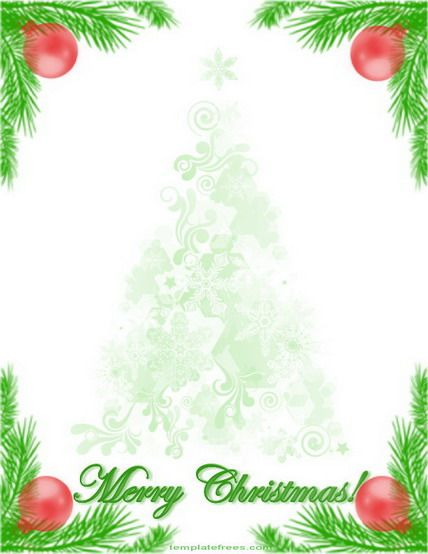 Free christmas card templates clipart. Printable border with tree
