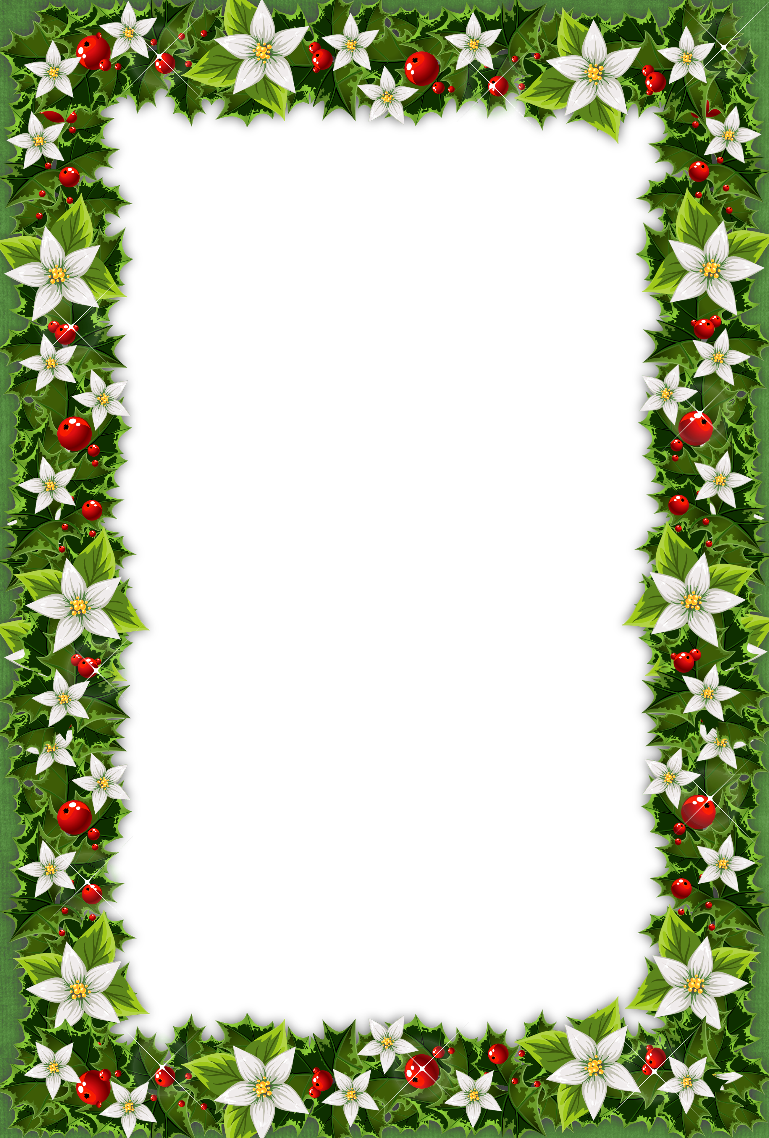 Free christmas frame clipart picture black and white Christmas Green PNG Photo Frame | Gallery Yopriceville - High ... picture black and white