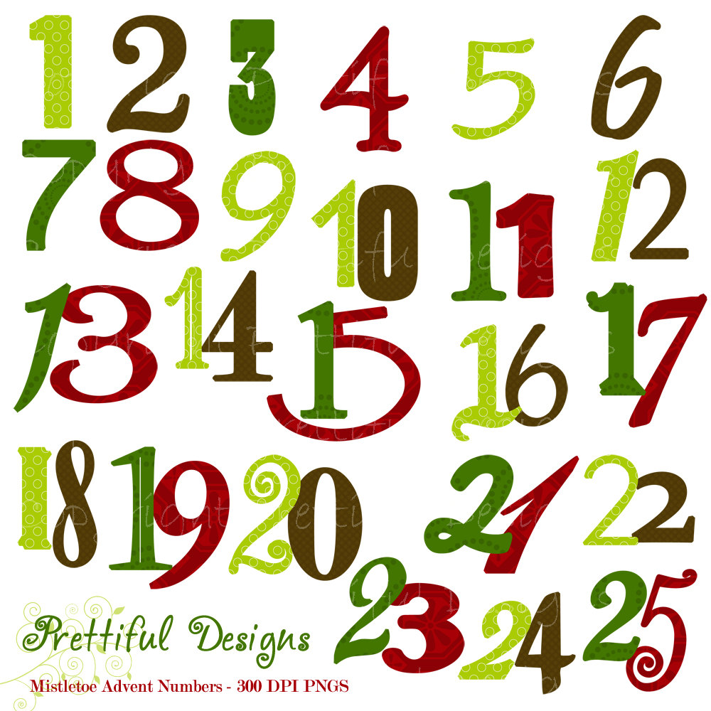 Free christmas countdown clipart banner black and white download Free Christmas Clip Art Numbers – Clipart Free Download banner black and white download