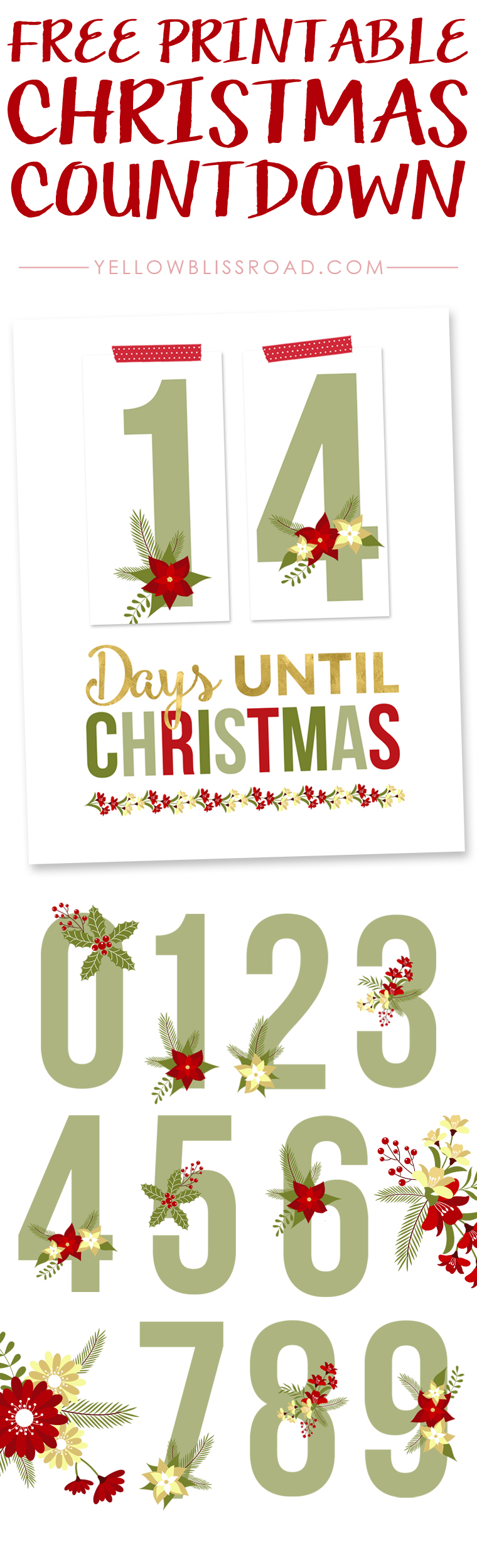 Free christmas countdown clipart png black and white stock Free Printable Christmas Countdown - Yellow Bliss Road png black and white stock