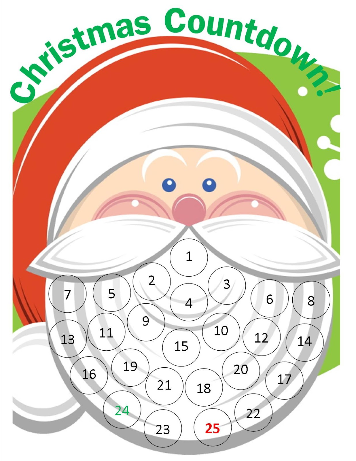 Free christmas countdown clipart graphic freeuse download Crafty WI Mama: Santa Christmas Countdown {Free Printable} graphic freeuse download