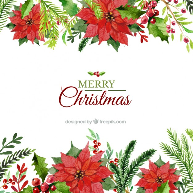 Free christmas flowers download png transparent Hand painted floral christmas background Vector | Premium Download png transparent