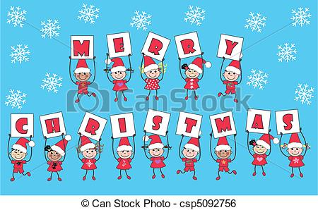 Free christmas message clipart download Clip Art Vector of merry christmas - mixed ethnic kids with ... download