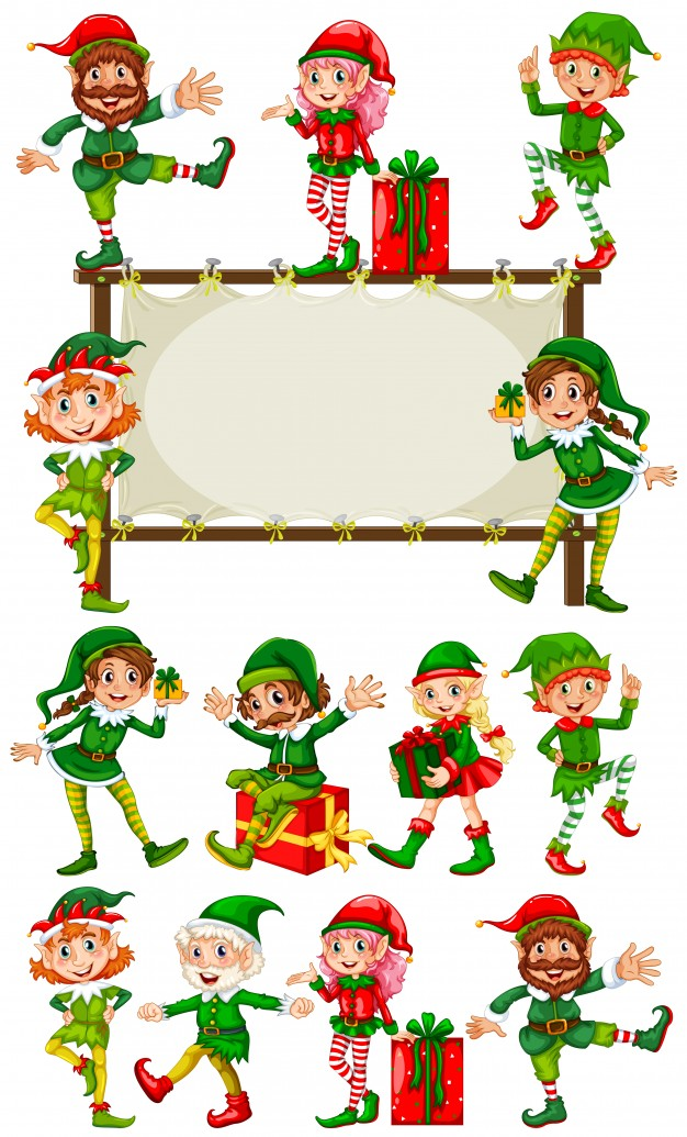 Free christmas photo frame elves clipart clip library download Border template with christmas elves Vector | Free Download clip library download