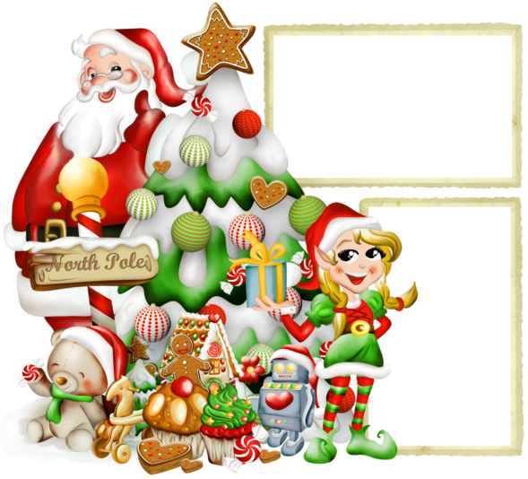 Free christmas photo frame elves clipart vector black and white stock Transparent Christmas PNG Photo Frame with Elf and Santa Claus ... vector black and white stock