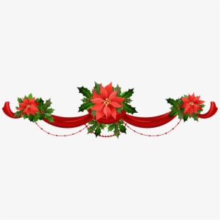 Free christmas poinsettia border clipart. Transparent garland with poinsettias