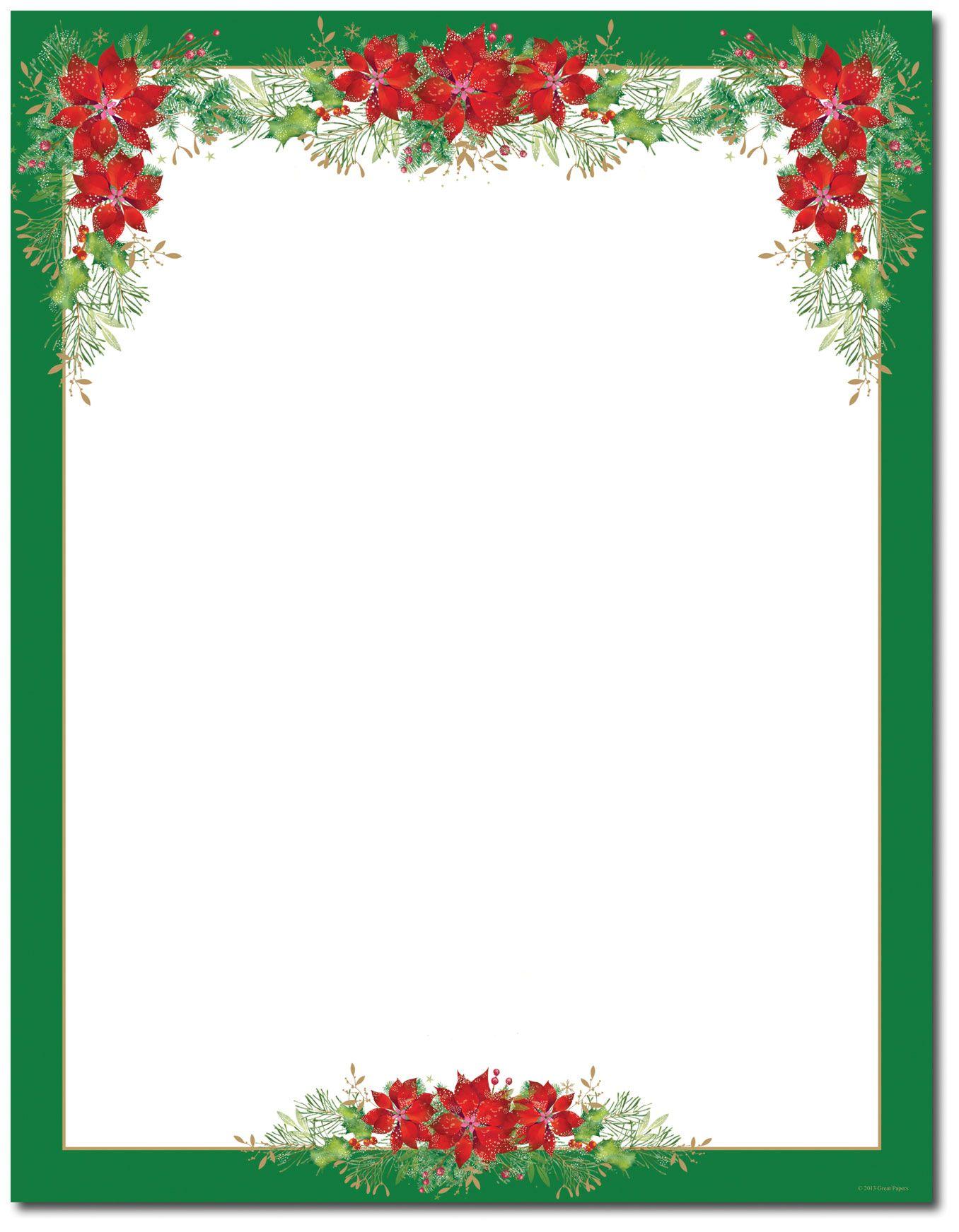 Free christmas poinsettia border clipart image free download Poinsettia Valance Letterhead | Holiday Papers | Christmas border ... image free download