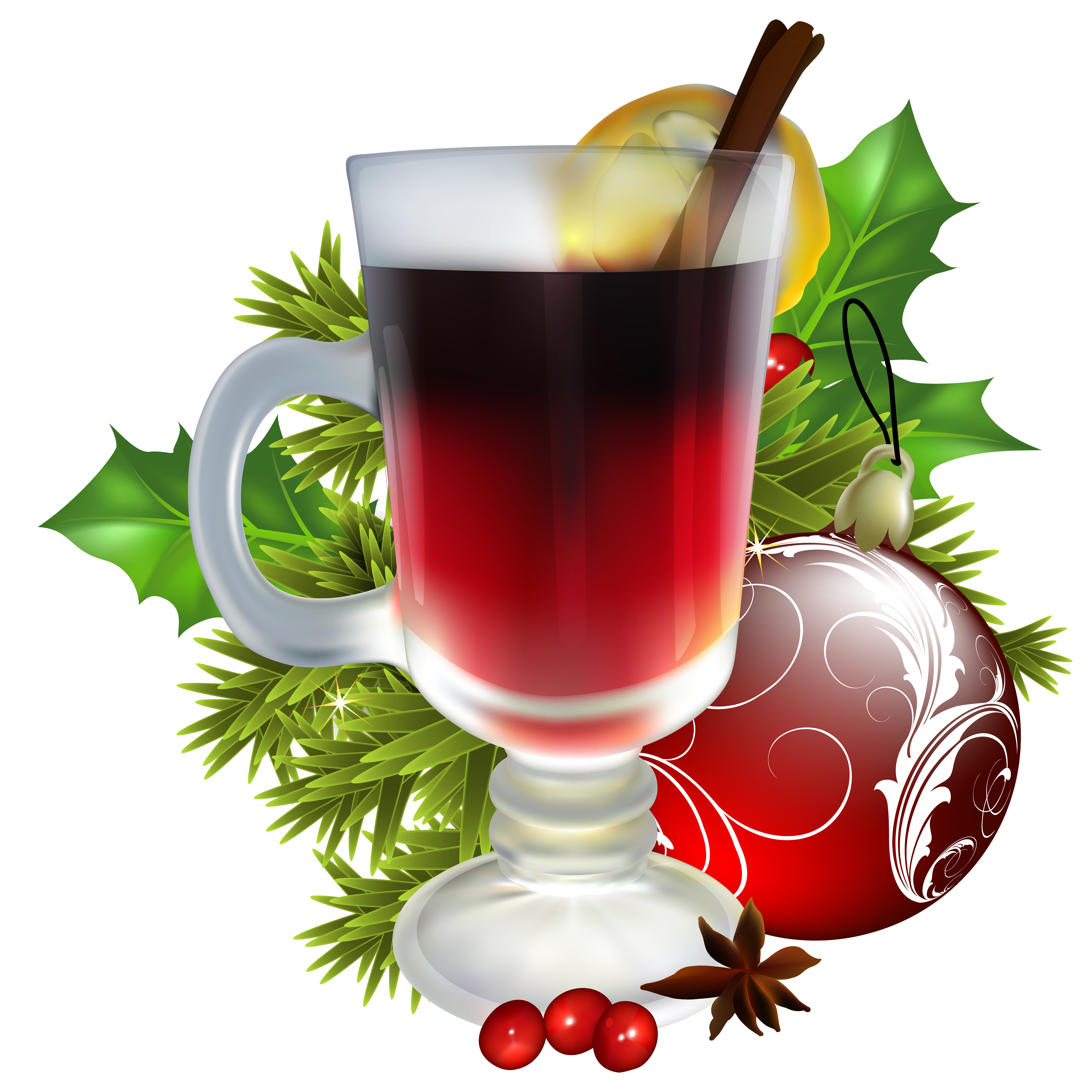 With decorations png image. Free christmas tea clipart