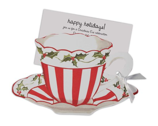 Red and white invitation. Free christmas tea clipart