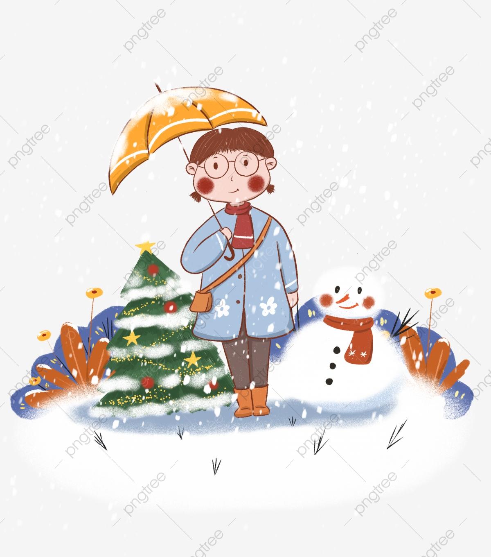 Free christmas winter snow scene clipart. Tree umbrella snowing heavy