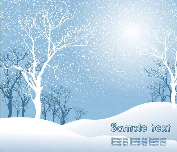 Free christmas winter snow scene clipart clip art black and white stock Winter scene background bright design treess snow decor Free vector ... clip art black and white stock