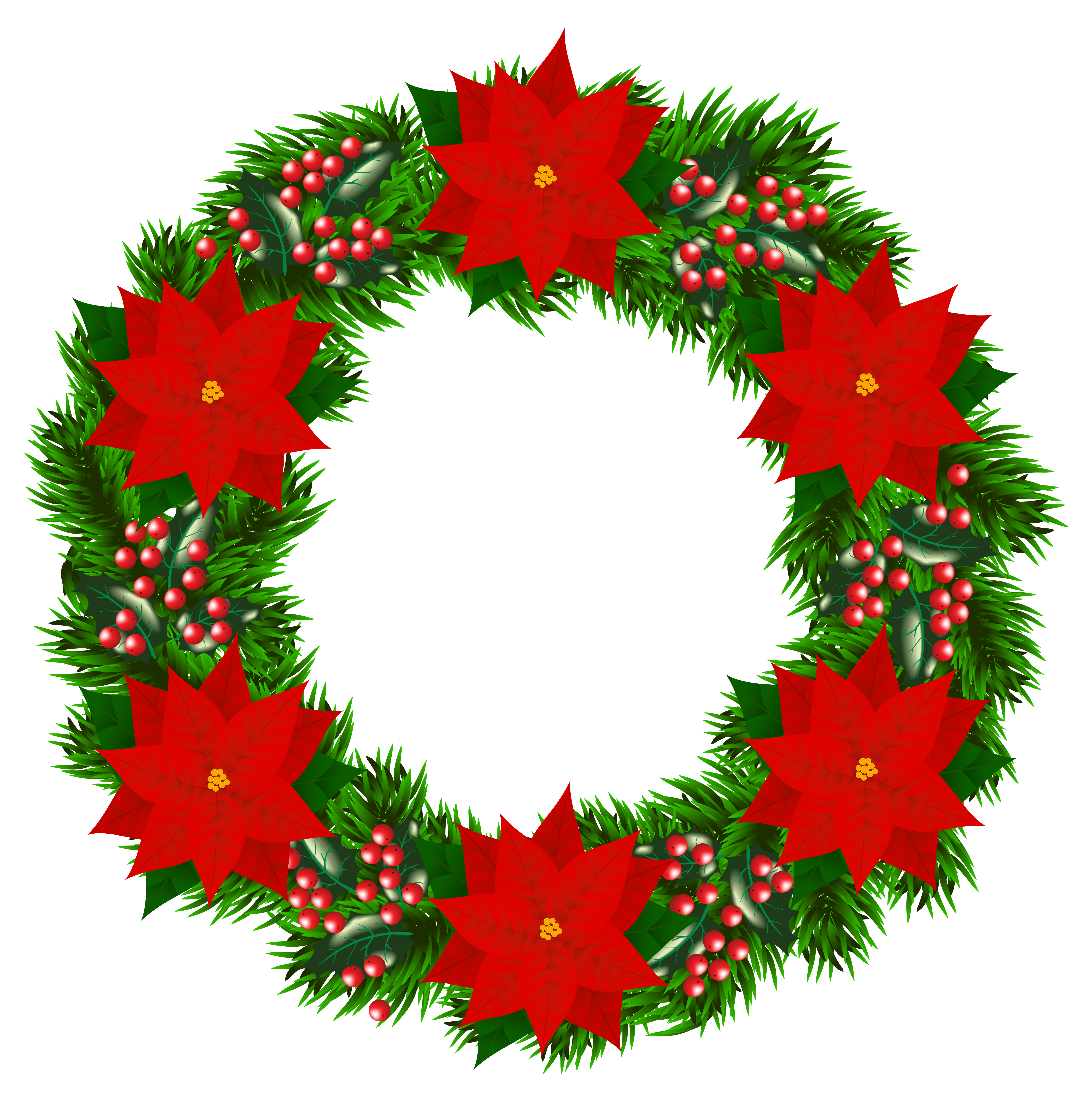 Free christmas wreath clipart svg freeuse library Christmas Wreath with Poinsettia PNG Clipart Image | Gallery ... svg freeuse library