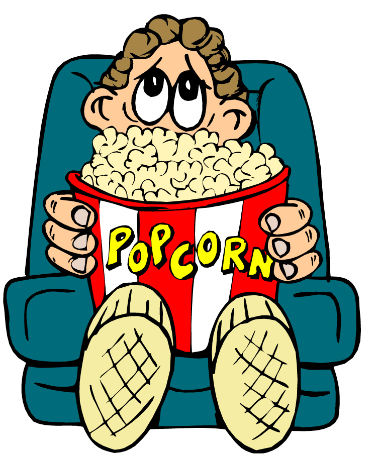 Watching sad movie clipart