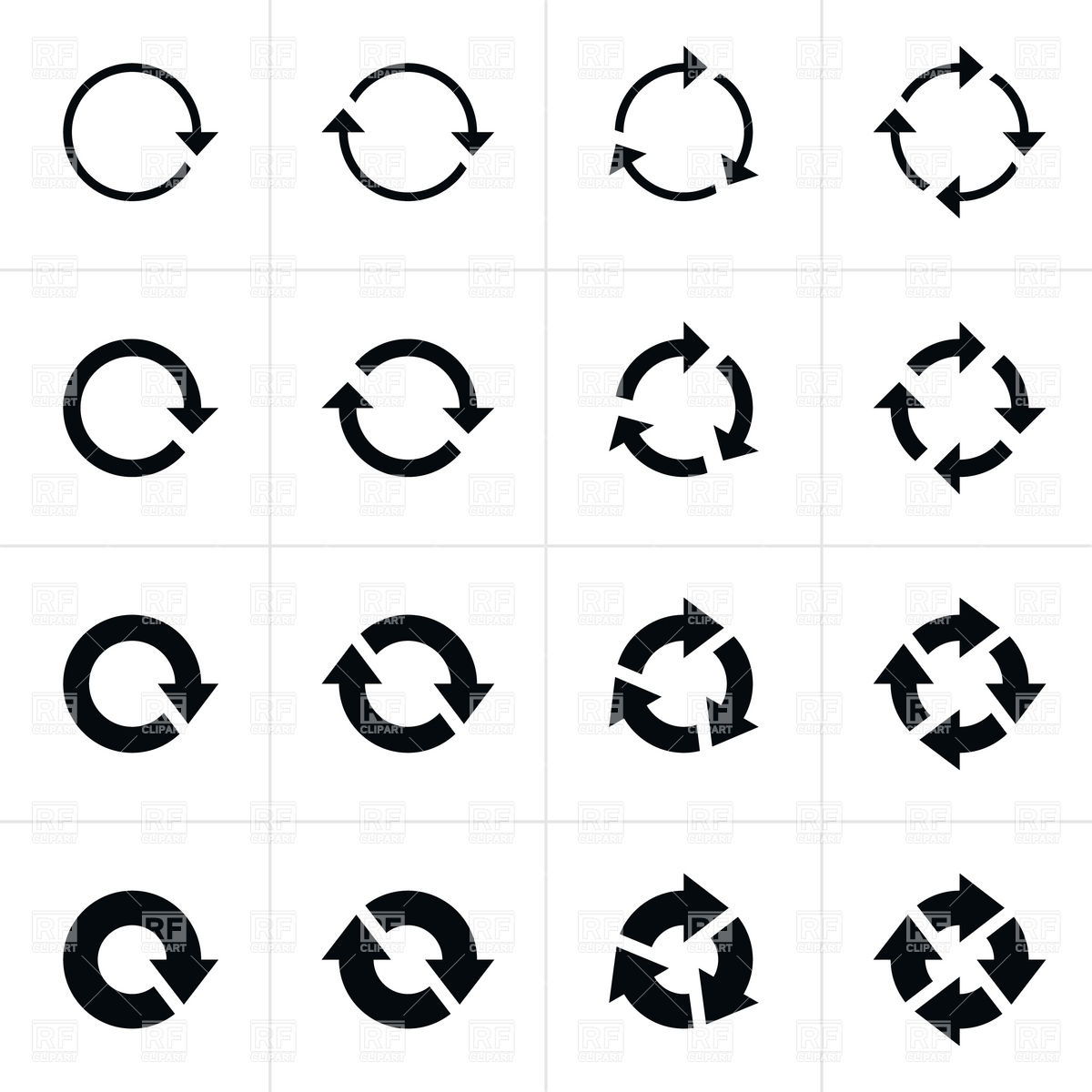 Free circle arrow clipart banner black and white download Circulation arrows set Vector Image #12853 – RFclipart banner black and white download