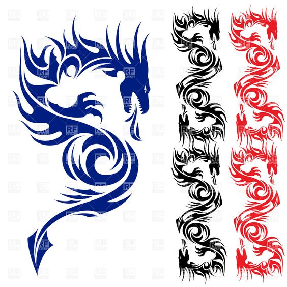 Free clip art jpeg png freeuse library Asian dragon - tattoo pattern, 7544, Silhouettes, Outlines ... png freeuse library