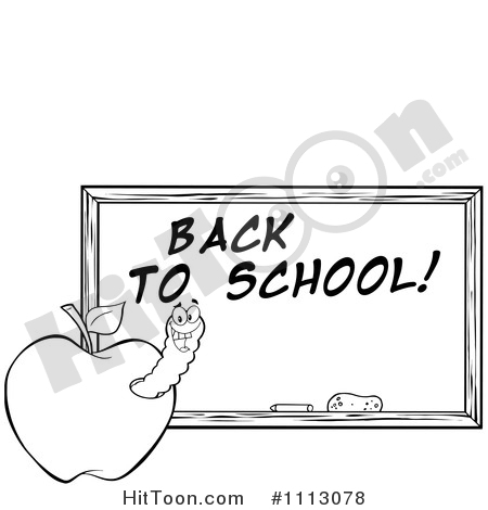 Free clipart 1st day of school black chalk board images png library library Back To School Clipart #1113078: Clipart Black and White Happy Worm ... png library library